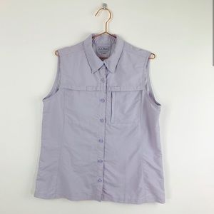 L .L. Bean Tropicwear Sleeveless Pale Violet Shirt